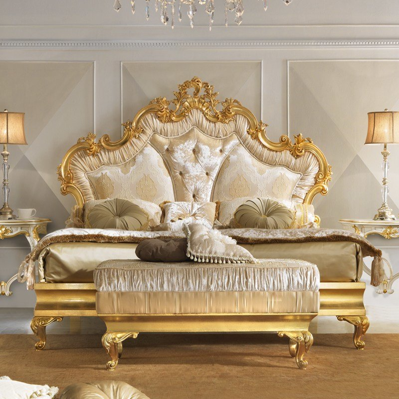 Best Rococo Gold Leaf Button Upholstered Bed Juliettes Interiors With Pictures