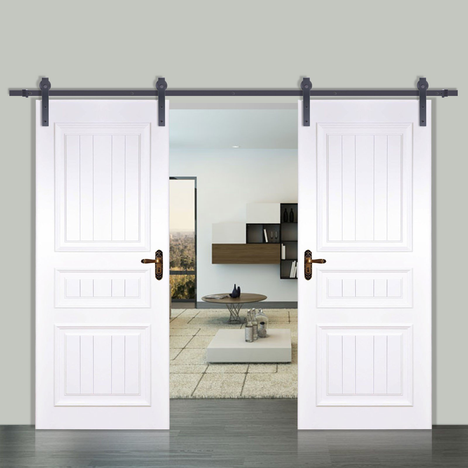 Best 6 6 6 10 12Ft Rustic Black Double Sliding Barn Door With Pictures