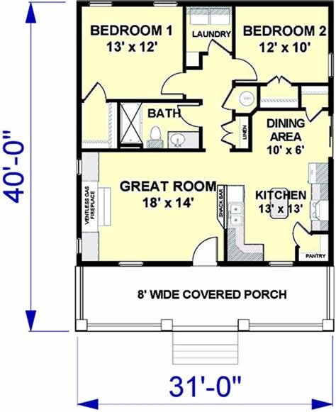 Best Cottage House Plan 2 Bedrooms 1 Bath 992 Sq Ft Plan 49 189 With Pictures