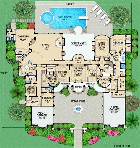 Best Luxury House Plan 4 Bedrooms 5 Bath 9253 Sq Ft Plan 63 309 With Pictures