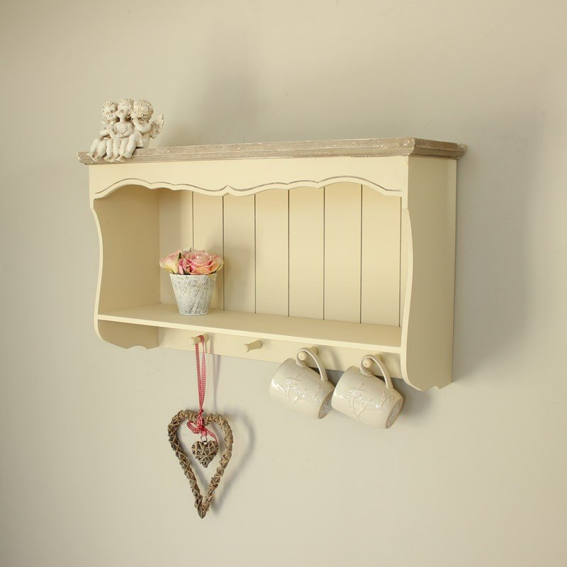 Best Cream Wall Shelf With Pegs Country Ash Range Melody With Pictures