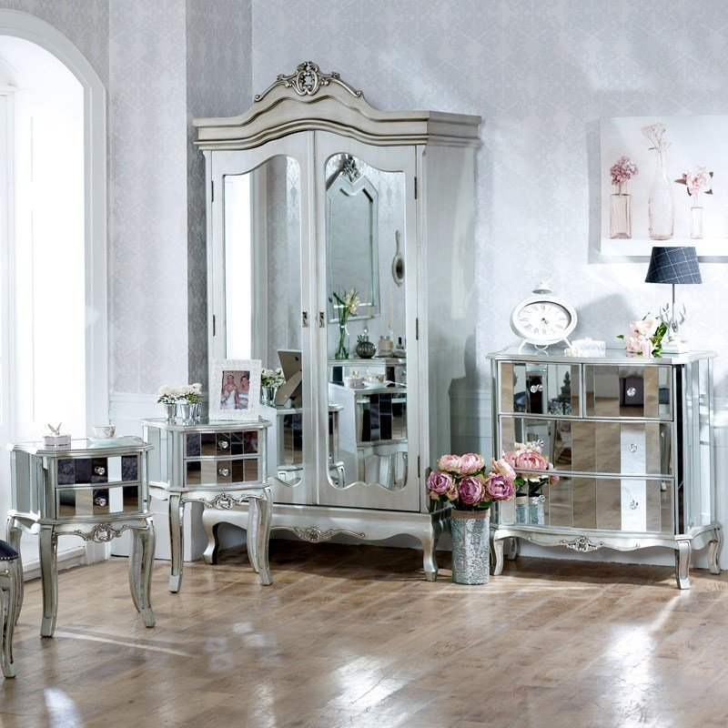 Best Furniture Bundle Mirrored Double Wardrobe Chest Of Drawers And Pair Of Bedside Chests With Pictures