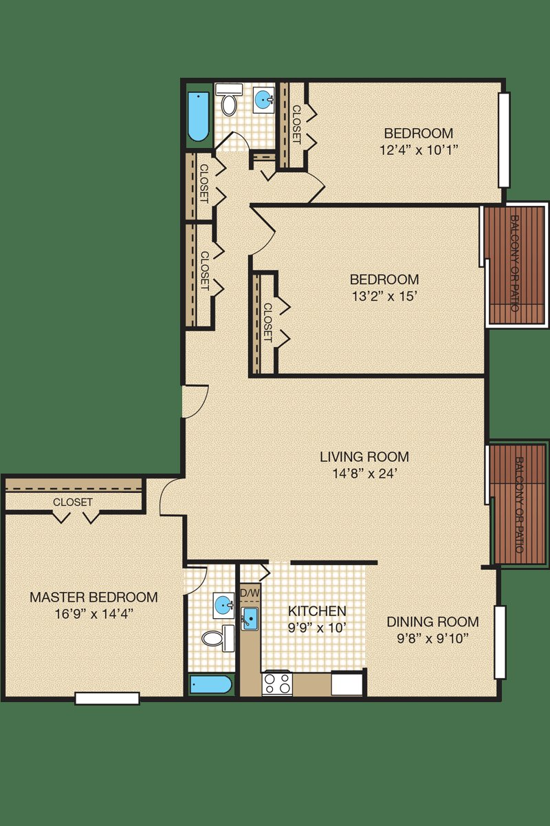 Best Three Bedroom Apartment Townhome Floor Plans With Pictures