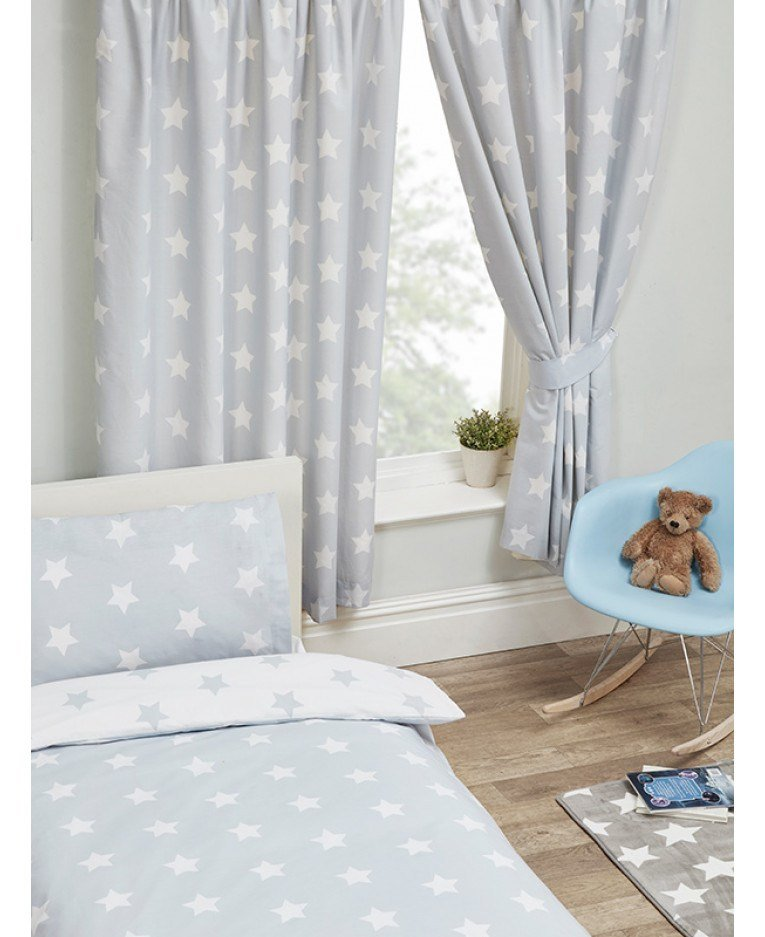 Best Grey And White Stars Lined Curtains Bedroom With Pictures