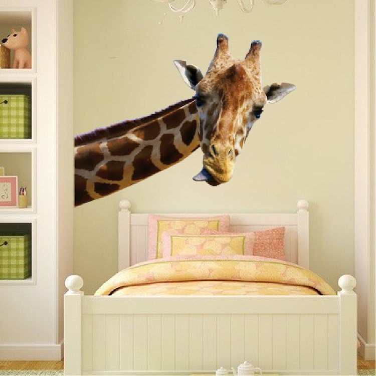 Best Leaning Giraffe Wall Mural Decal Animal Wall Decal With Pictures