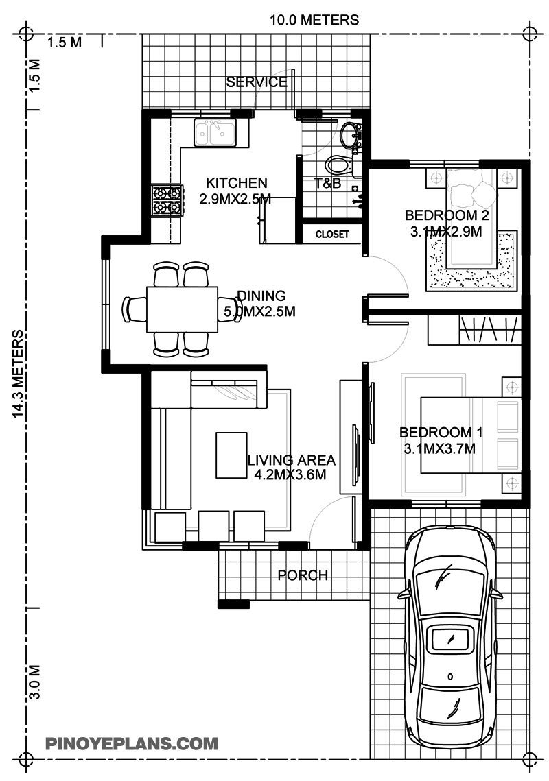 Best Wanda – Simple 2 Bedroom House With Fire Wall Pinoy Eplans With Pictures