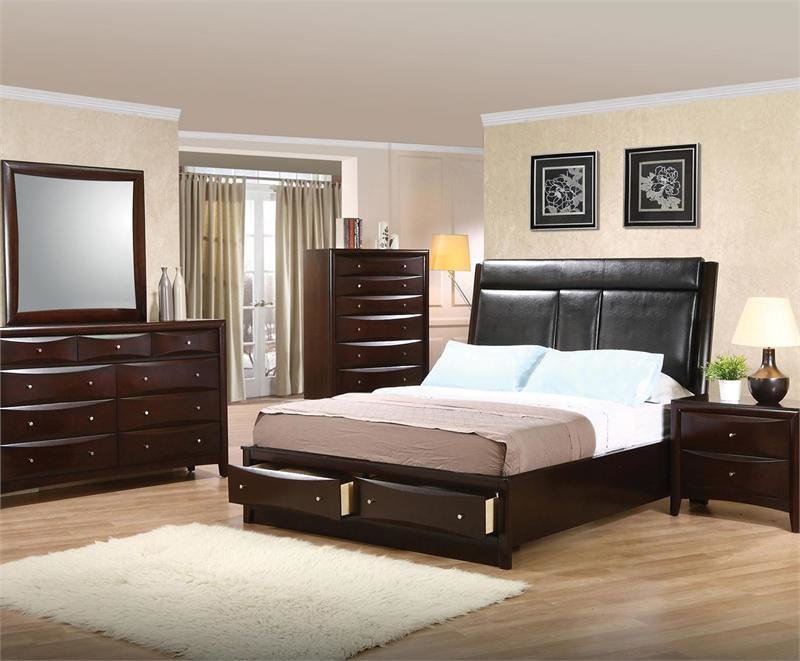 Best Leather Headboard Storage Bedroom Set Pheonix Collection With Pictures