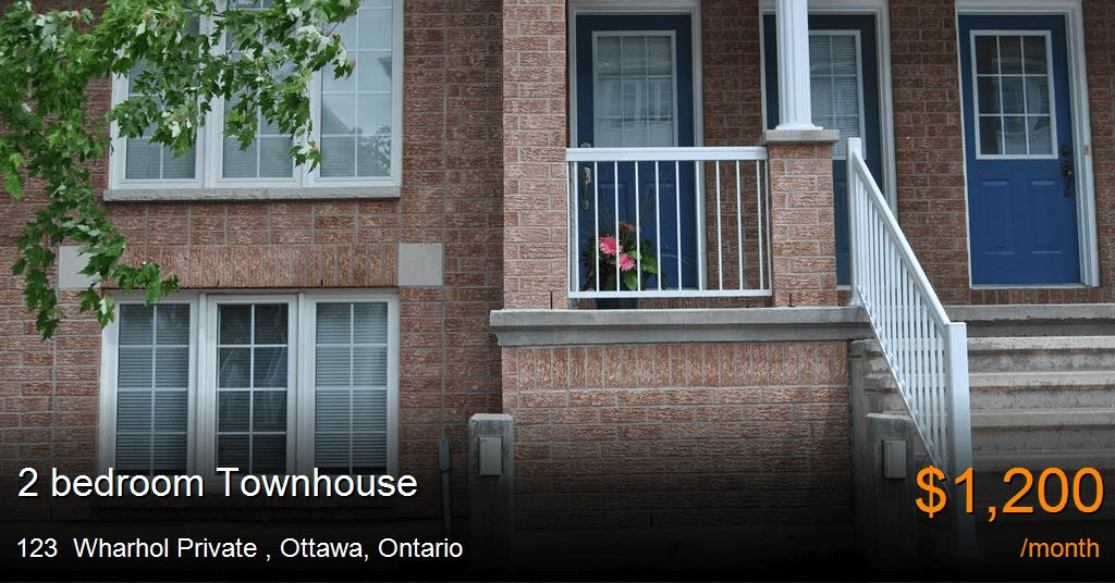 Best 123 Wharhol Private Ottawa Townhouse For Rent B24459 With Pictures