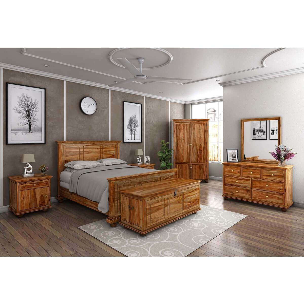 Best Pecos Solid Wood Full Size Platform Bed 7Pc Bedroom With Pictures