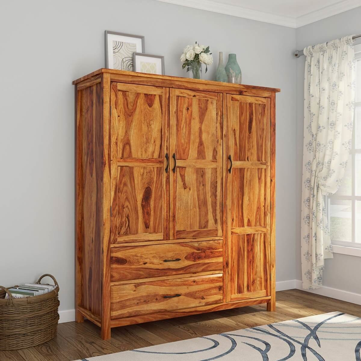 Best Sheffield Rustic Solid Wood 3 Door Large Bedroom Wardrobe With Pictures