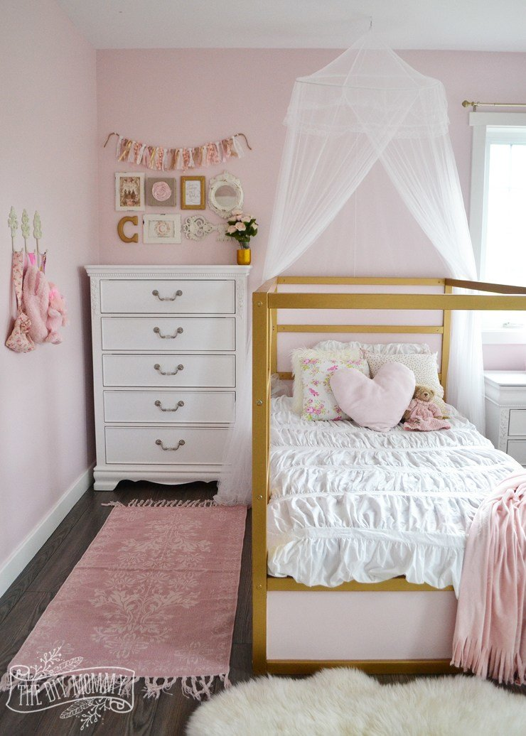 Best A Pink White Gold Shabby Chic Glam Girls' Bedroom Reveal Little C's Room Makeover For The Orc With Pictures