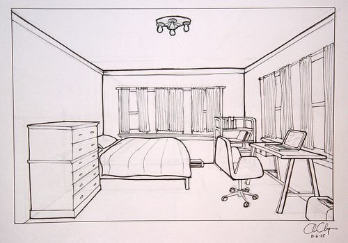 Best Homework One Point Perspective Room Drawing Ms Chang S With Pictures