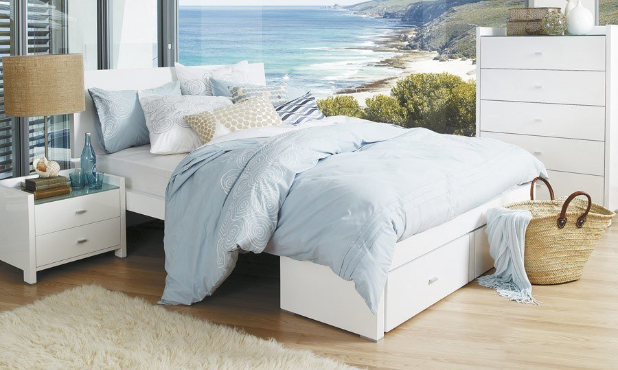 Best Rimini White High Gloss King Size Bed Bedshed With Pictures