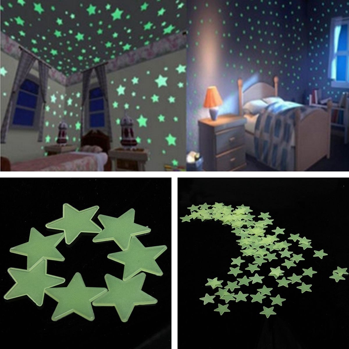 Best 100 Glow In The Dark Stars Shape Stickers For Home Ceiling With Pictures