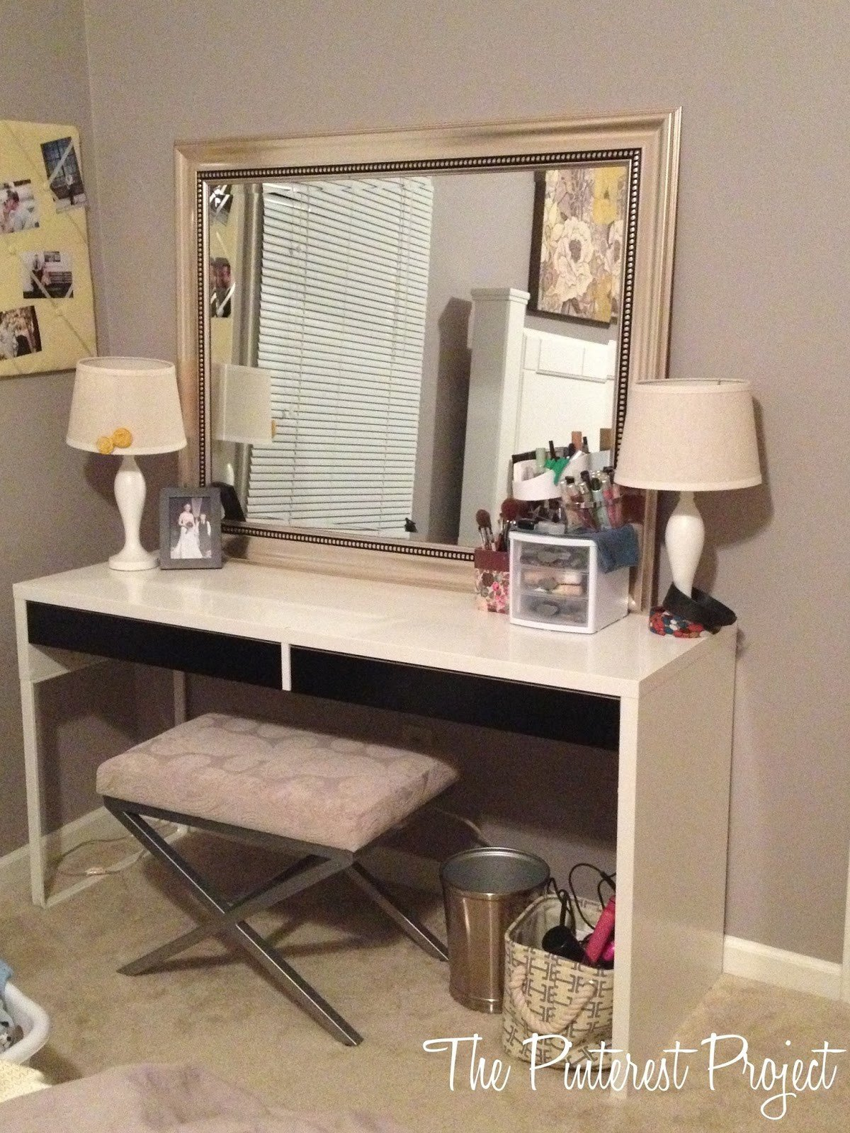 Best Ikea Hack Desk Into Vanity The Pinterest Project With Pictures