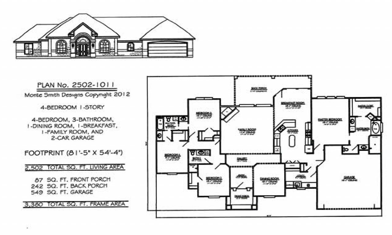 Best 4 Bedroom Single Family 4 Bedroom One Story House Plans 1 With Pictures