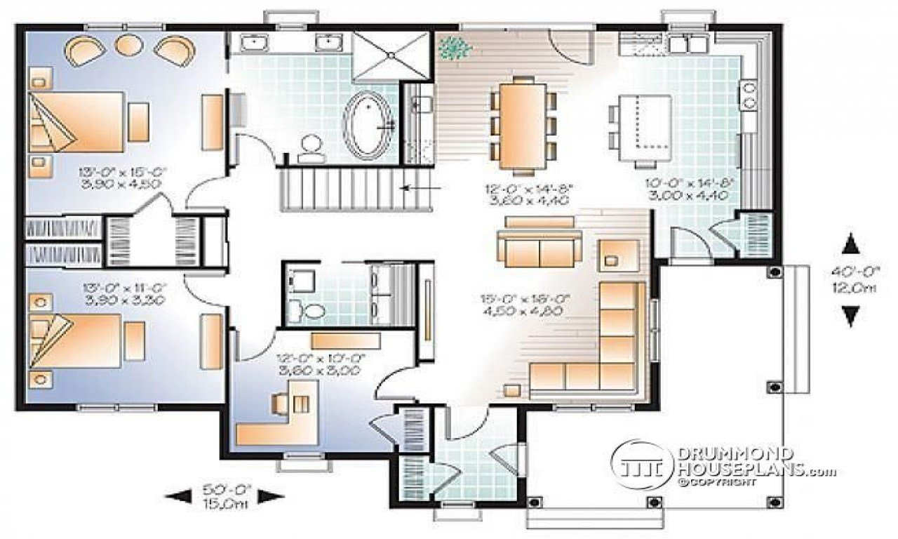 Best 3 Bedroom Open Floor Plan 3 Bedroom House Plans With Two With Pictures