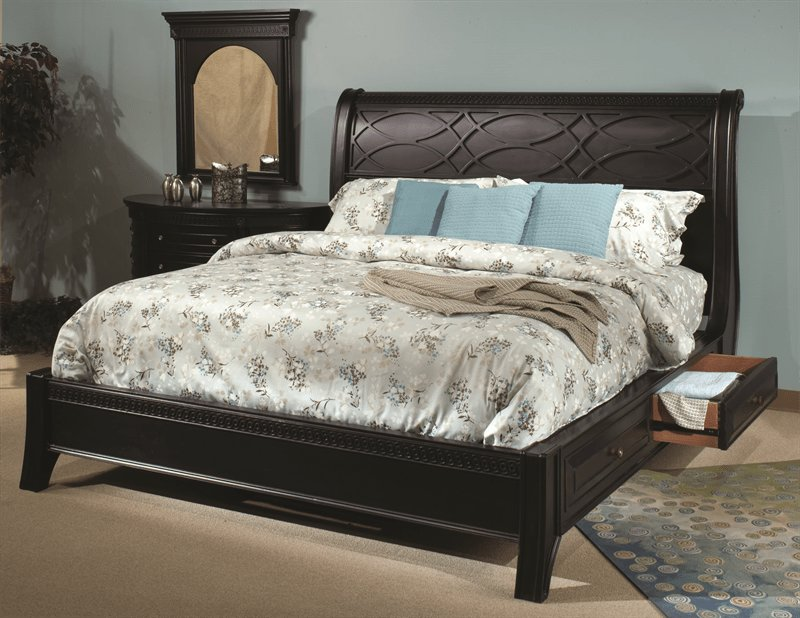 Best American Federal Black Storage Sleigh Master Bedroom Set With Pictures