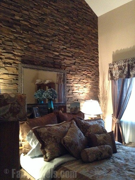 Best Stacked Stone Wall In The Bedroom Creative Faux Panels With Pictures