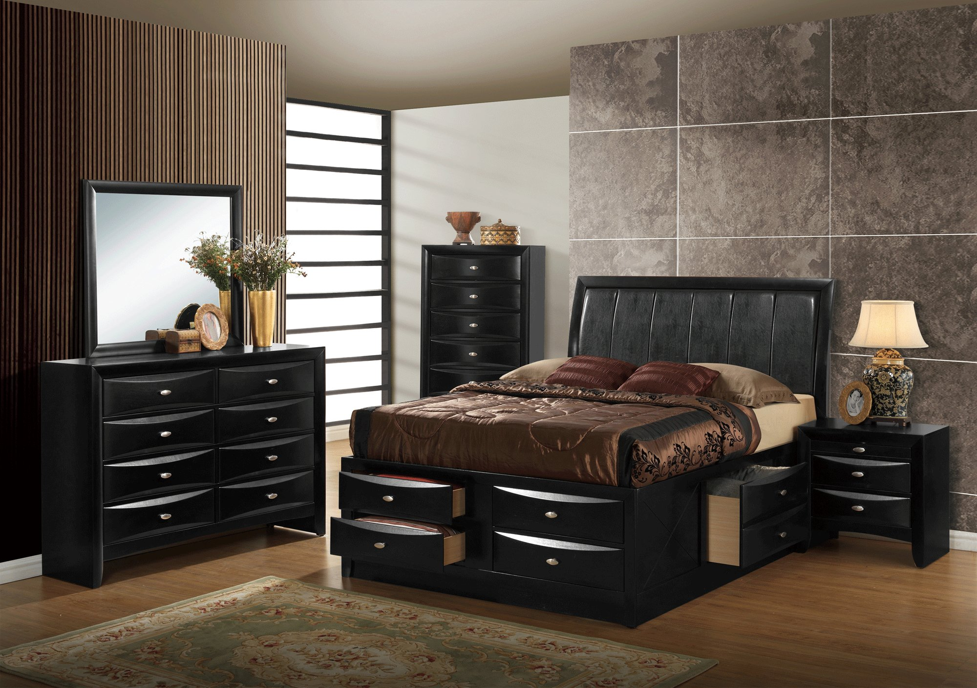 Best Hayden Black Bedroom Set By Global Furniture With Pictures