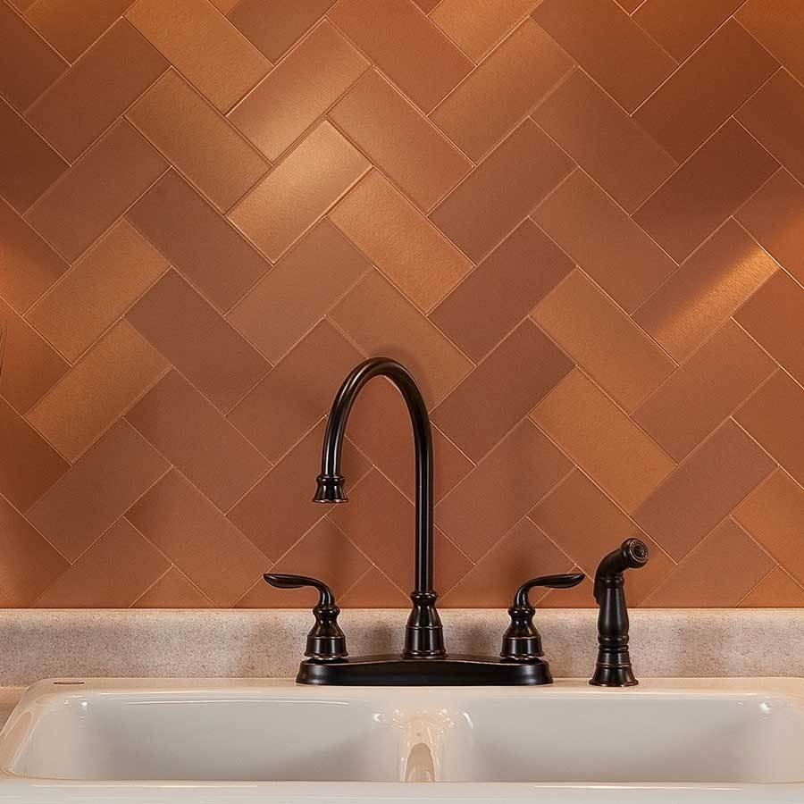 Best Kitchen Glossy Copper Tile Backsplash For Contemporary Kitchen Idea — Villa Club Net With Pictures