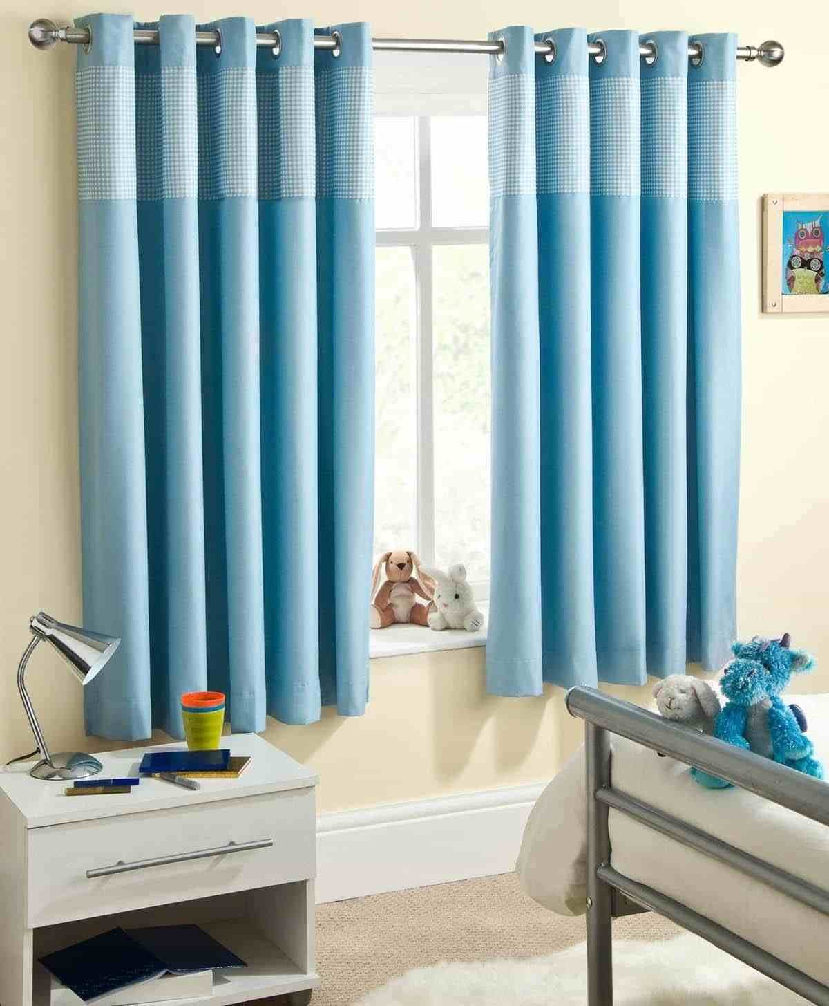 Best Kids Bedroom With Blue Short Eyelet Curtains Dressing With Pictures