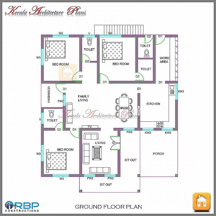 Best Bedroom House Plans In Kerala Single Floor Savaeorg Six With Pictures