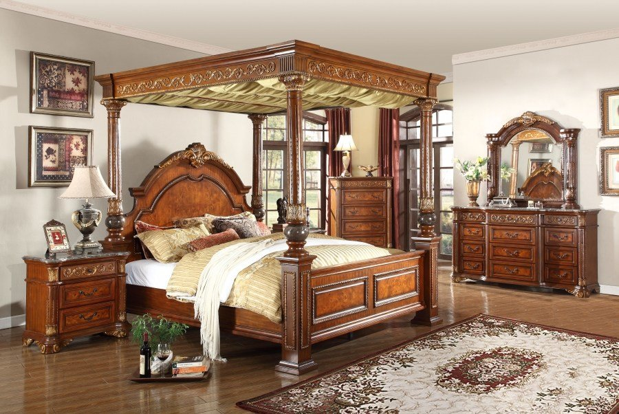 Best 1Pc Traditional Style Bedroom Furniture Cherry Finish King With Pictures