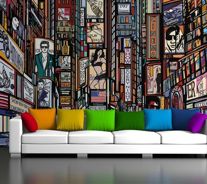Best New York Skyline Wall Wallpaper Cartoon Style With Pictures