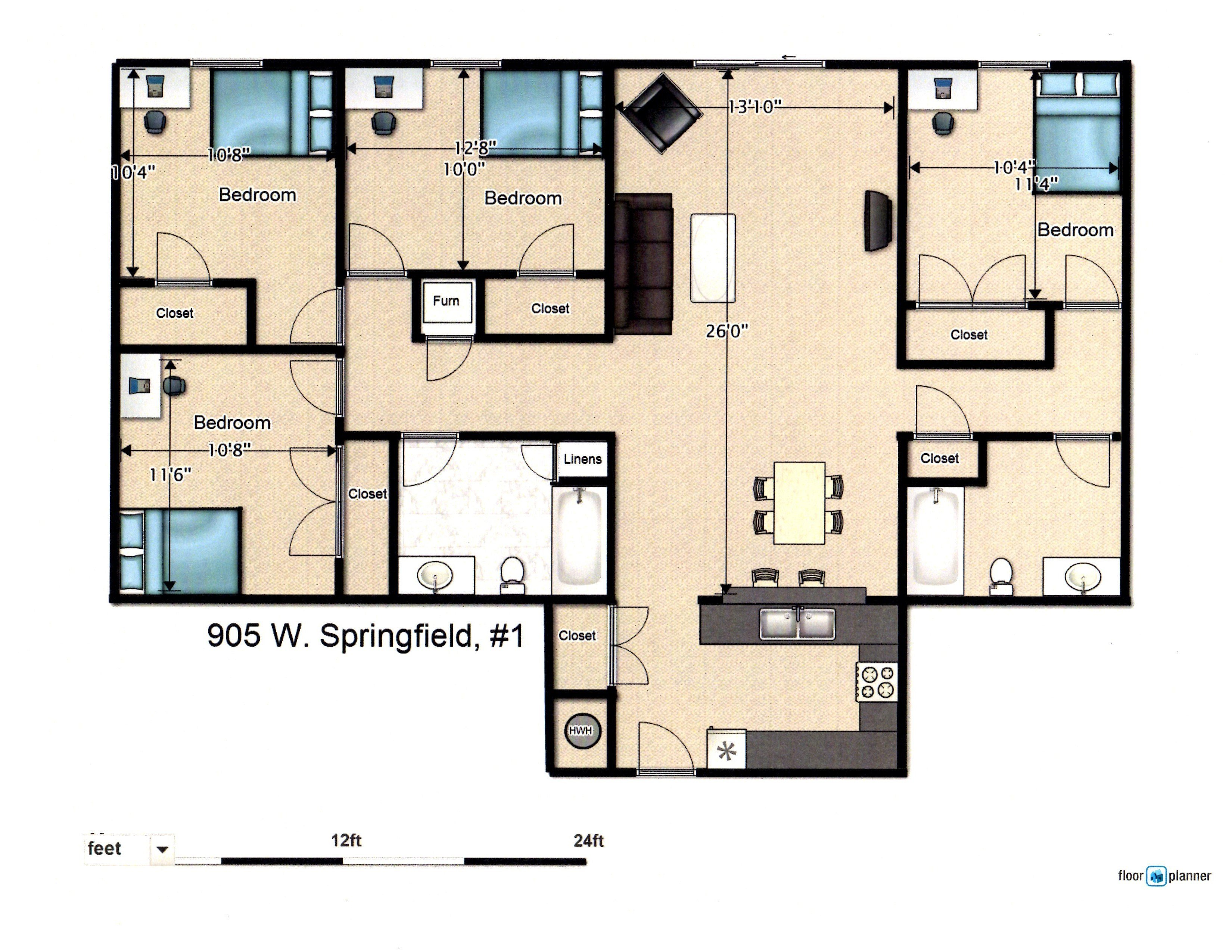 Best 4 Bedroom Apartment 905 W Springfield Ave Urbana Il With Pictures