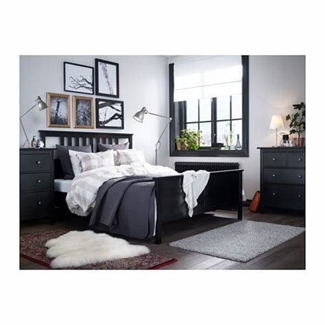 Best Hemnes Bed Frame Black Brown Luröy Standard Double Ikea With Pictures