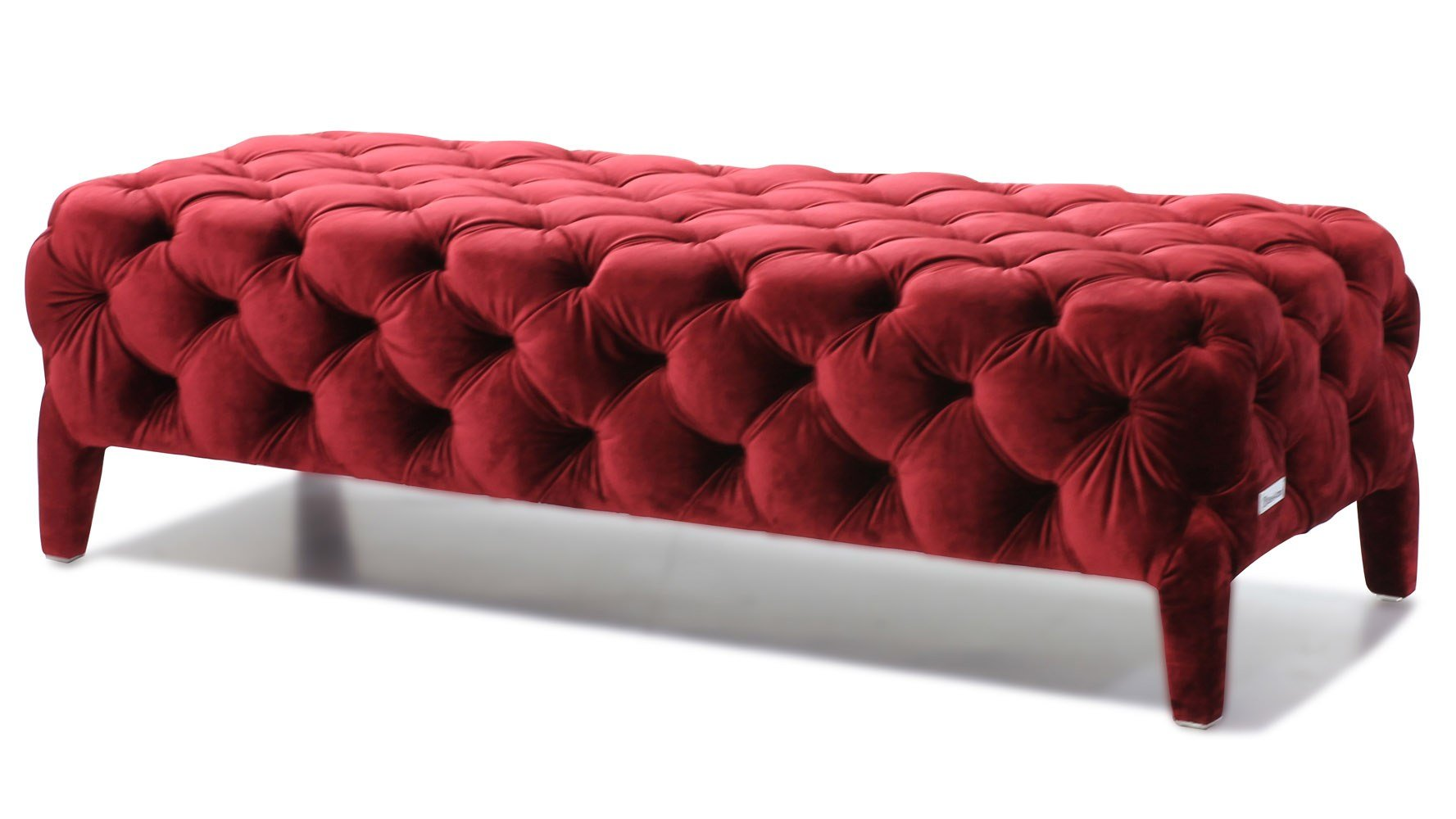 Best Modern Red Velour Tufted Oslo Bedroom Bench Zuri Furniture With Pictures