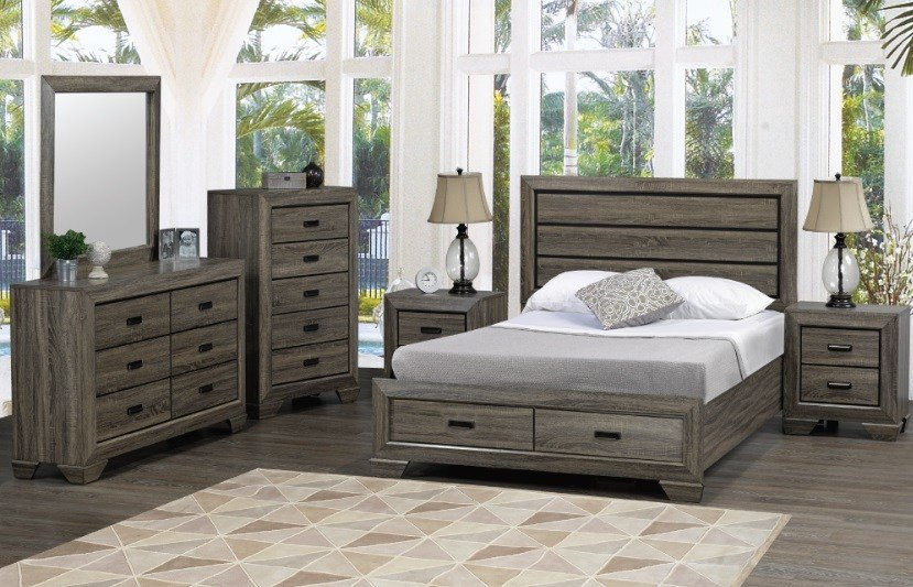 Best Jenna 6Pc Queen Bedroom Suite In Distressed Grey Wood With Pictures