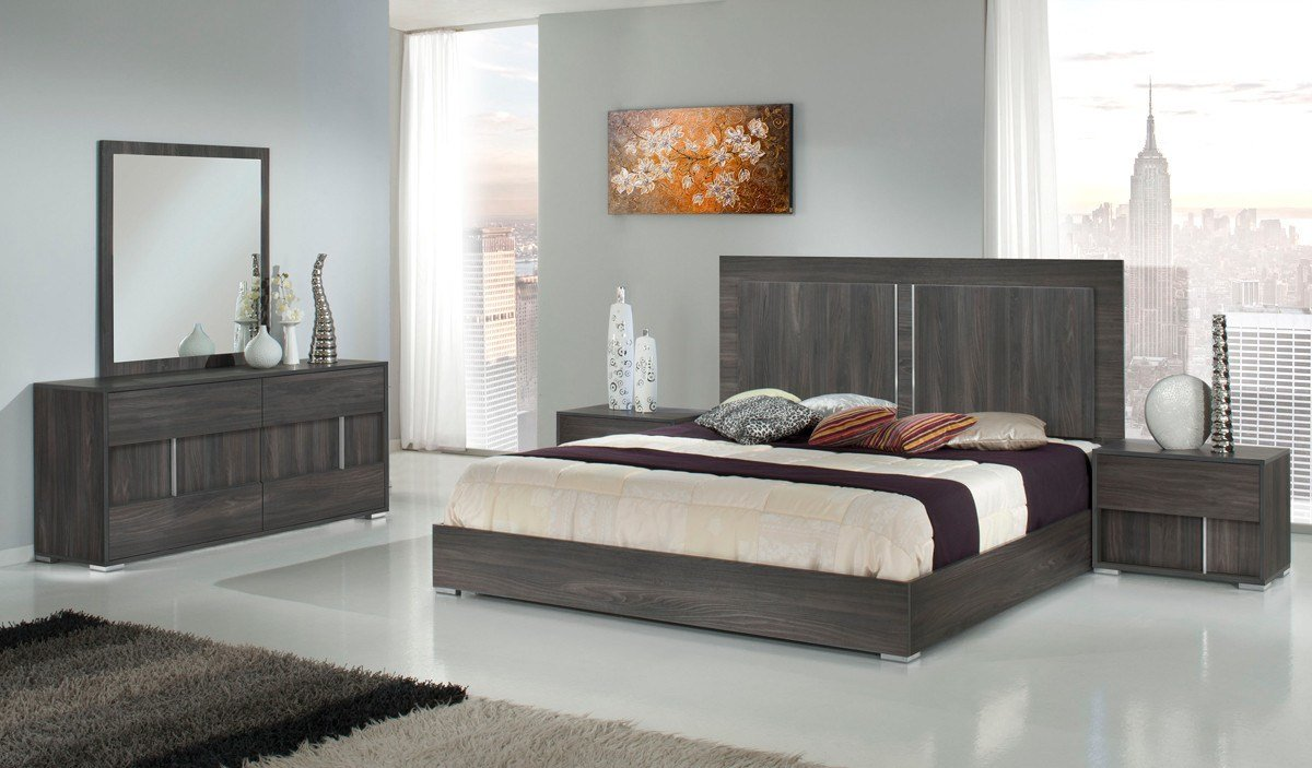 Best Modrest Luca Italian Modern Grey Bedroom Set With Pictures