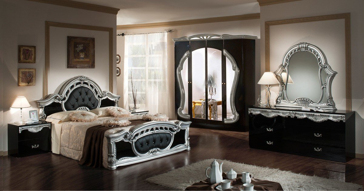 Best Modrest Rococo Italian Classic Black Silver Bedroom Set With Pictures
