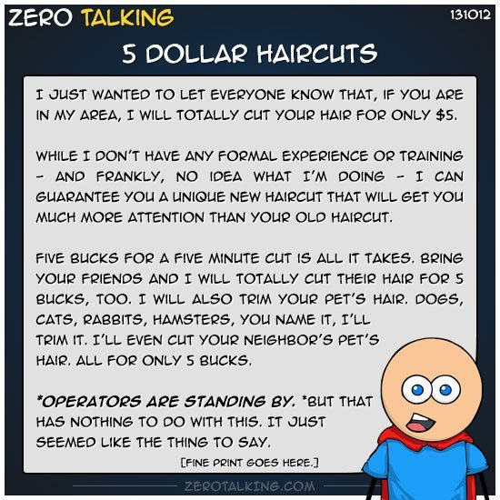 Free 5 Dollar Haircuts – Zero Talking Wallpaper