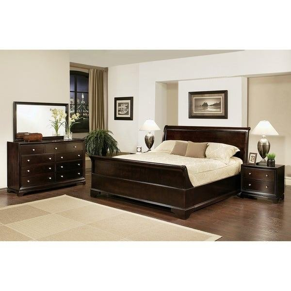 Best Abbyson Living Kingston 5 Piece Espresso Sleigh King Size With Pictures