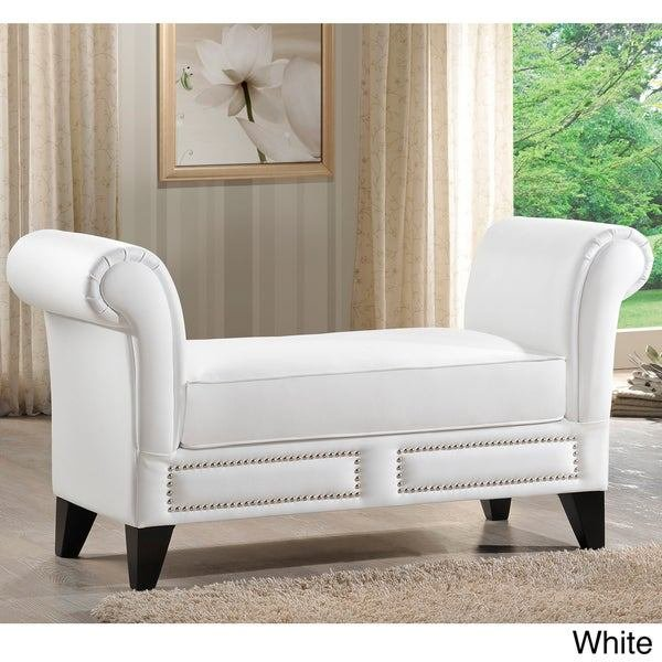 Best Baxton Studio Marsha Modern Scroll Arm Bench Overstock With Pictures