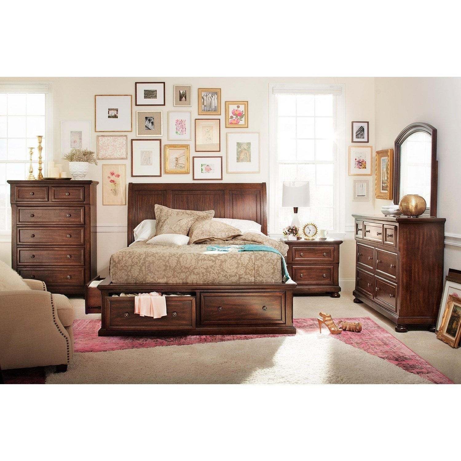 Best Hanover 7 Piece Queen Storage Bedroom Set Cherry Value With Pictures