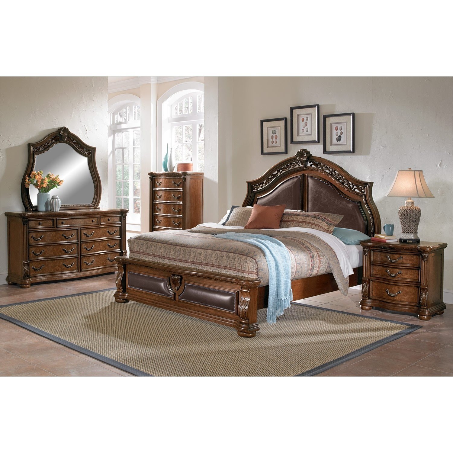 Best Morocco Queen Bed Pecan Value City Furniture With Pictures
