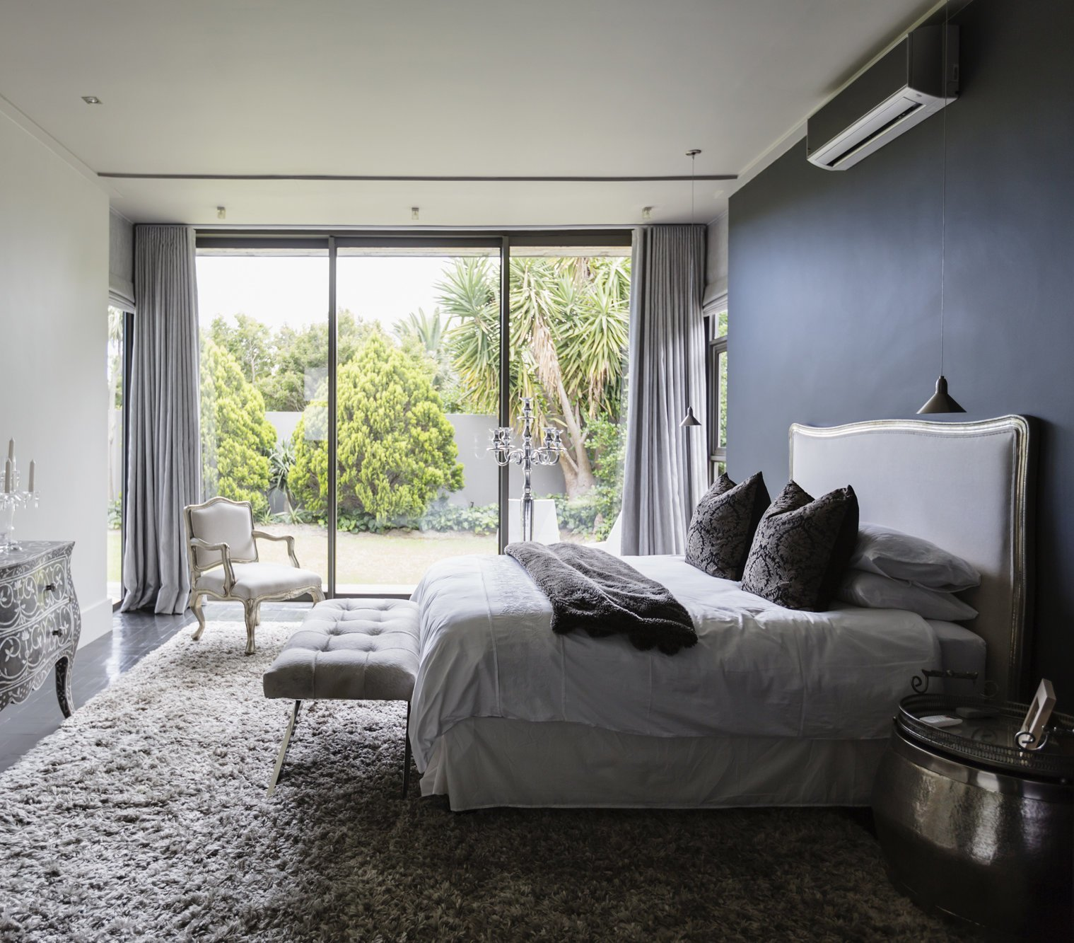 Best Gray Bedroom With Sh*G Rug And Sliging Glass Doors With Pictures