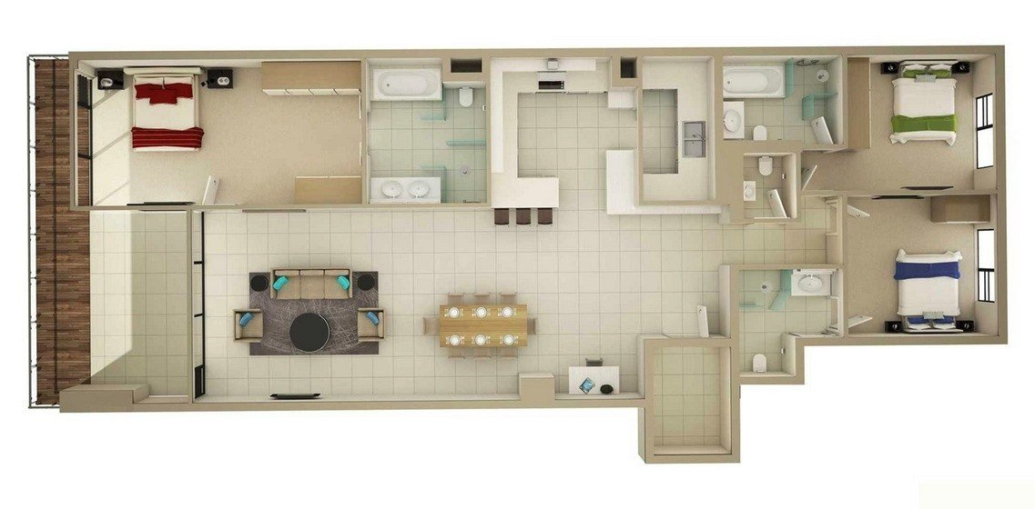 "Best 50 Three ""3"" Bedroom Apartment House Plans Architecture With Pictures"