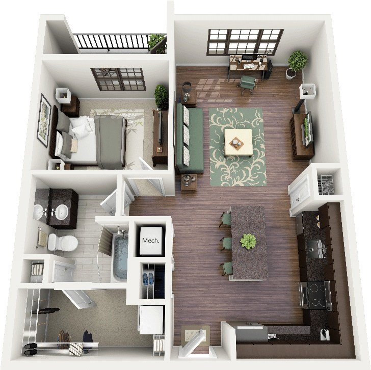"Best 50 One ""1"" Bedroom Apartment House Plans Architecture With Pictures"