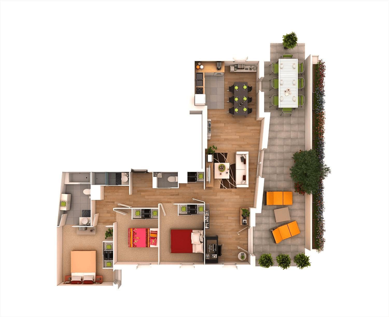 Best 25 More 3 Bedroom 3D Floor Plans Architecture Design With Pictures