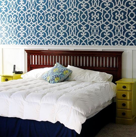 Best Stenciled Accent Wall In Bedroom By Sugar Bee Crafts With Pictures