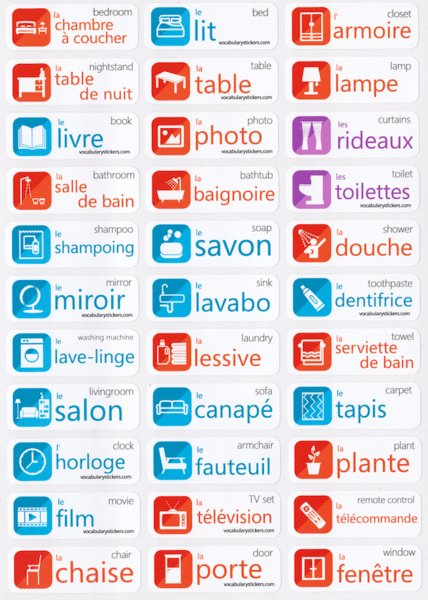 Best French Language Stickers – Vocabularystickers™ With Pictures