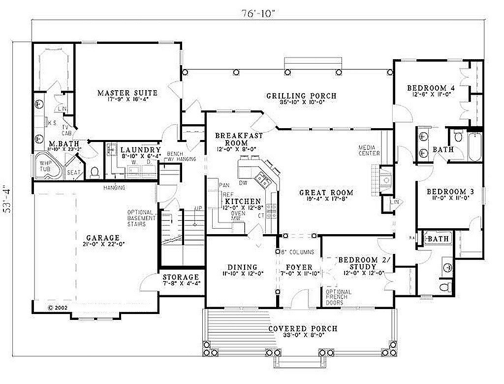 Best Southern Style House Plan 4 Beds 3 Baths 2373 Sq Ft Plan With Pictures