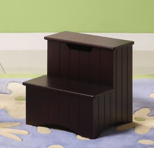 Best Kings Brand Dark Cherry Finish Wood Bedroom Step Stool With Pictures
