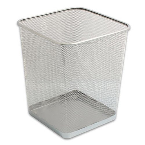 Best Silver Mesh Waste Bin Office Bedroom Trash Can Wastebasket With Pictures