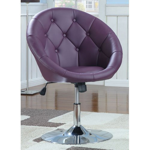 Best Purple Coaster Swivel Chair With Chrome Finish Purple With Pictures